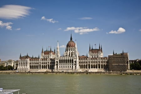 famous parliament of Hungary in Budapest, view over river danubia Stock Photo - 13743945