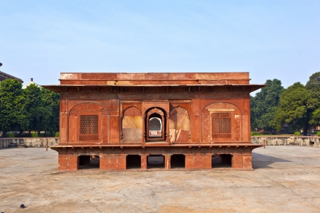 Lake pavillion Zafar mahal in red fort complex in India, Delhi.