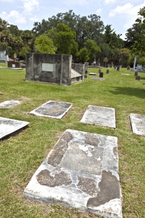 Colonial Park Cemetery in Savannah at July 22.2011 - Colonial Park served as Savannah's cemetery for more than a century and contains over nine thousand graves. Established in 1750, by 1789 it had been expanded three times to reach the current size of s Stock Photo - 13760985