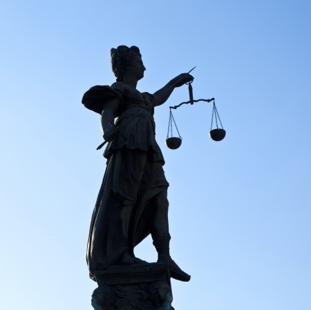 Statue of Lady Justice in front of the Romer in Frankfurt - Germany Stock Photo - 13780256