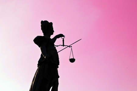 Statue of Lady Justice in front of the Romer in Frankfurt - Germany Stock Photo - 13780604