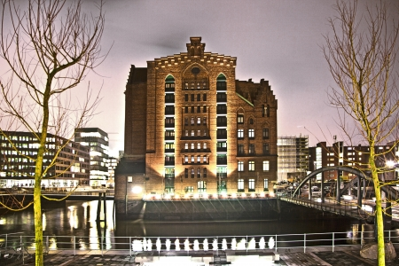 clinker: historic Speicherstadt at night in Hamburg