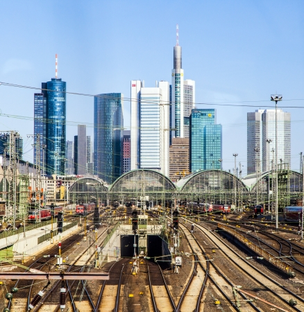 frequented: FRANKFURT, GERMANY - MARCH 25: view to entrance of central station on March 25,2012 in Frankfurt, Germany. With about 350,000 passengers per day the station is the most frequented railway station in Germany.