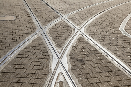 streetcar: rails of streetcar in old cobble stone street