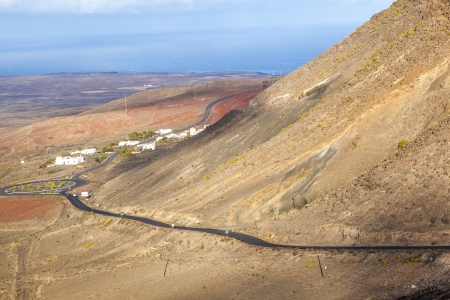 winding road along an old volcano to Femes, Lanzarote photo