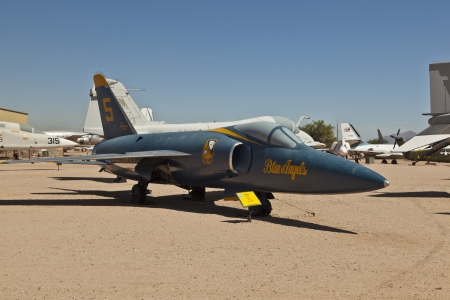 pima: TUSCON, USA - JULY 14: visiting the Pima Air and space Museum at July 14, 2012 in Tuscon, USA. The F-11 F fighter was in operation from 1958  to 1962.