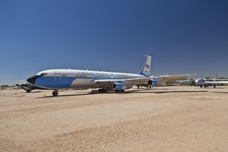TUSCON, USA - JULY 14: visiting the Pima Air and space Museum at July 14, 2012 in Tuscon, USA. The Airforce one was used by Persident Nixon.