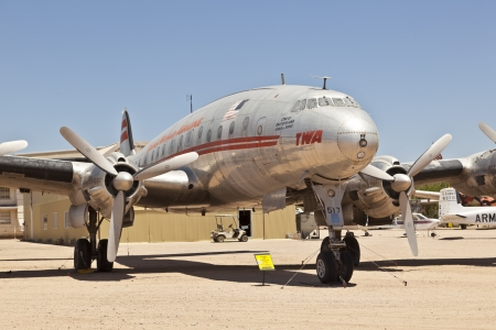 pima: TUSCON, USA - JULY 14: visiting the Pima Air and space Museum at July 14, 2012 in Tuscon, USA. The Lockheed Super Constellation was in operation from 1943 to 1948.