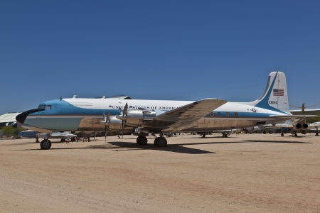 pima: TUSCON, USA - JULY 14: visiting the Pima Air and space Museum at July 14, 2012 in Tuscon, USA. The 1962 Douglas VC-118A Liftmaster Air Force One was used by U.S. Presidents J.F. Kennedy and Johnson. Editorial