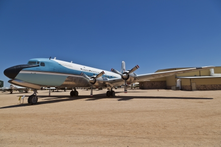 TUSCON, USA - JULY 14: visiting the Pima Air and space Museum at July 14, 2012 in Tuscon, USA. The 1962 Douglas VC-118A Liftmaster Air Force One was used by U.S. Presidents J.F. Kennedy and Johnson. Stock Photo - 14141971
