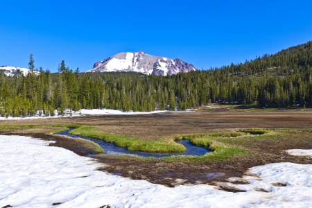 snow on Mount Lassen in the national park photo