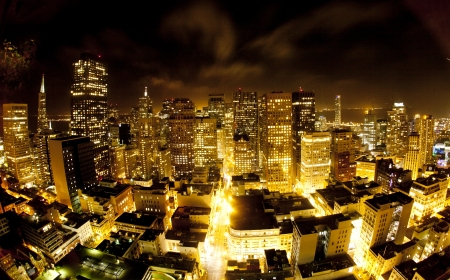 bay: aerial of San Francisco by night