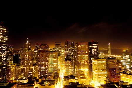 aerial of San Francisco by night photo