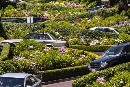 View of Lombard Street, the crookedest street in the world, San Francisco, California photo