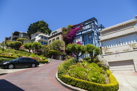 View of Lombard Street, the crookedest street in the world, San Francisco, California Zdjęcie Seryjne