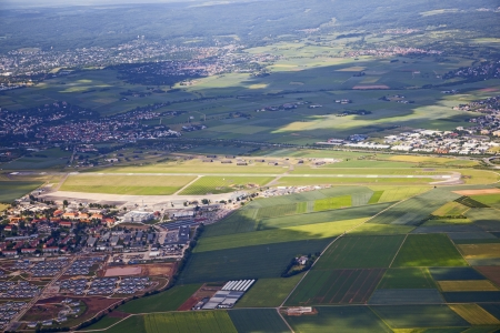 aerial landscape view with airport in rural Eiffel area in Germany photo