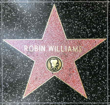 hollywood star: HOLLYWOOD - JUNE 26: Robin Williams star on Hollywood Walk of Fame on June 26, 2012 in Hollywood, California. This star is located on Hollywood Blvd. and is one of 2400 celebrity stars.