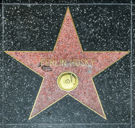 huskys: HOLLYWOOD - JUNE 26: Ferlin Huskys star on Hollywood Walk of Fame on June 26, 2012 in Hollywood, California. This star is located on Hollywood Blvd. and is one of 2400 celebrity stars.