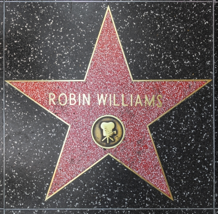 HOLLYWOOD - JUNE 26: Robin Williams star on Hollywood Walk of Fame on June 26, 2012 in Hollywood, California. This star is located on Hollywood Blvd. and is one of 2400 celebrity stars.