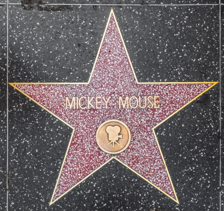 HOLLYWOOD - JUNE 26: Mickey Mouse's star on Hollywood Walk of Fame on June 26, 2012 in Hollywood, California. This star is located on Hollywood Blvd. and is one of 2400 celebrity stars. Stock Photo - 14339809