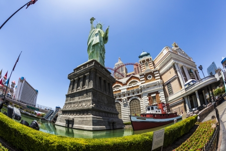 LAS VEGAS NV - APRIL 16: New York - New York Hotel & Casino on April 16, 2011 in Las Vegas, Nevada, USA. Replica of the Statue of Liberty is 150-foot-tall (46 m)