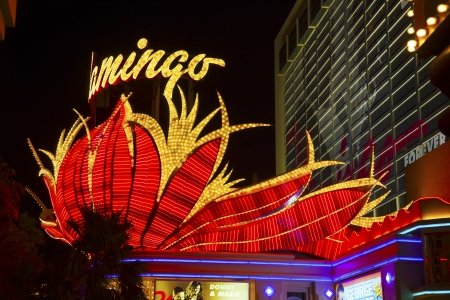 siegel: LAS VEGAS - June 15: the famous Flamingo Hotel at night on June 15, 2012 in LAS VEGAS, USA.  Bugsy Siegel opened the Flamingo in 1946 as the third casino in Las Vegas. Editorial