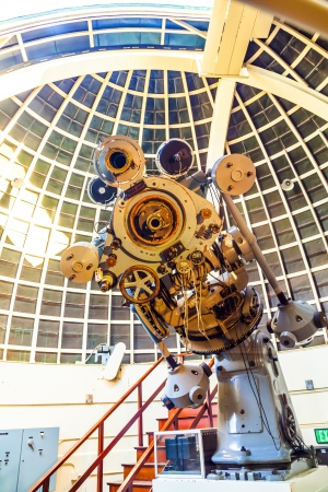 LOS ANGELES, USA - famous Zeiss telescope at the Griffith observatory  on June 10, 2012 in Los Angeles, USA.  The Zeiss Refractors of Griffith Observatory from 1935 is open to public and free due to Griffiths will.