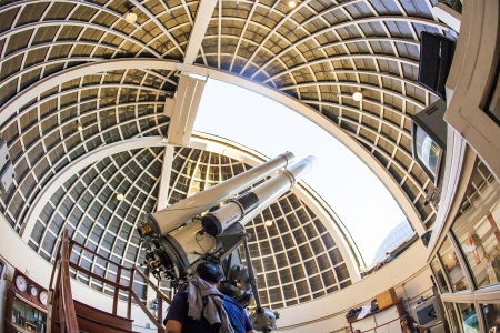 LOS ANGELES, USA - Zeiss telescope at the Griffith observatory  on June 10, 2012 in Los Angeles, USA. The Zeiss Refractors of Griffith Observatory from 1935 is open to public and free due to Griffiths will.