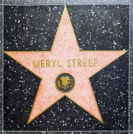 blvd: HOLLYWOOD - JUNE 26: Meryl Streeps star on Hollywood Walk of Fame on June 26, 2012 in Hollywood, California. This star is located on Hollywood Blvd. and is one of 2400 celebrity stars. Editorial