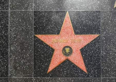 24 26: HOLLYWOOD - JUNE 26: Johnny Depps star on Hollywood Walk of Fame on June 24, 2012 in Hollywood, California. This star is located on Hollywood Blvd. and is one of 2400 celebrity stars. Editorial