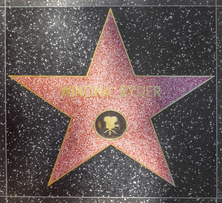 blvd: HOLLYWOOD - JUNE 26: Winona Ryders star on Hollywood Walk of Fame on June 24, 2012 in Hollywood, California. This star is located on Hollywood Blvd. and is one of 2400 celebrity stars.