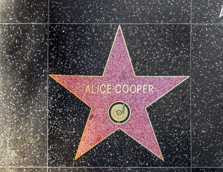 24 26: HOLLYWOOD - JUNE 26: Alice Coopers star on Hollywood Walk of Fame on June 24, 2012 in Hollywood, California. This star is located on Hollywood Blvd. and is one of 2400 celebrity stars. Editorial