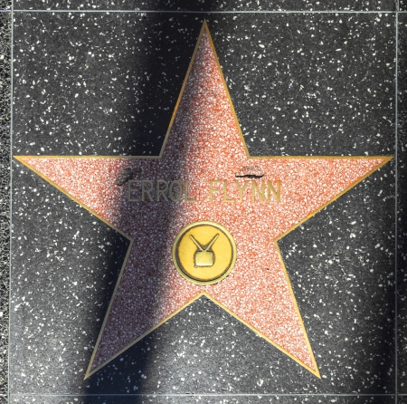 24 26: HOLLYWOOD - JUNE 26:  Errol Flynns star on Hollywood Walk of Fame on June 24, 2012 in Hollywood, California. This star is located on Hollywood Blvd. and is one of 2400 celebrity stars.