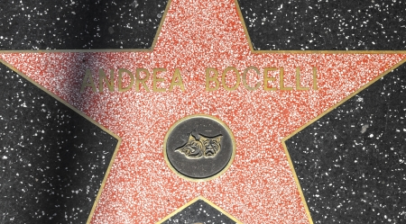 24 26: HOLLYWOOD - JUNE 26: Andrea Bocelli star on Hollywood Walk of Fame on June 24, 2012 in Hollywood, California. This star is located on Hollywood Blvd. and is one of 2400 celebrity stars. Editorial