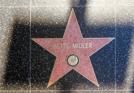 blvd: HOLLYWOOD - JUNE 24: Bette Midlers star on Hollywood Walk of Fame on June 24, 2012 in Hollywood, California. This star is located on Hollywood Blvd. and is one of 2400 celebrity stars. Editorial