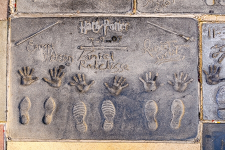 LOS ANGELES - JUNE 26:  handprints in Hollywood Boulevard on June 26,2012 in Los Angeles. There are nearly 200 celebrity handprints in the concrete of Chinese Theatre
