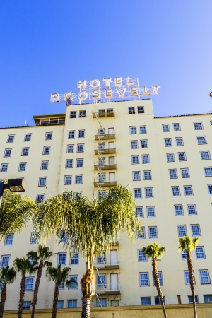 HOLLYWOOD, USA -JUNE 26: facade of famous historic Roosevelt Hotel on June 26,2012 in Hollywood, USA. It  first opened on May 15, 1927. It is now managed by Thompson Hotels. Stock Photo - 14443797