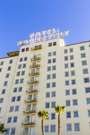 HOLLYWOOD, USA -JUNE 26: facade of famous historic Roosevelt Hotel on June 26,2012 in Hollywood, USA. It  first opened on May 15, 1927. It is now managed by Thompson Hotels.
