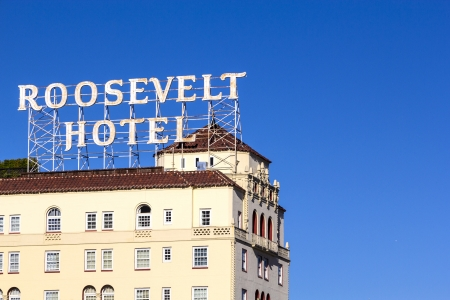 HOLLYWOOD, USA -JUNE 26: facade of famous historic Roosevelt Hotel on June 26,2012 in Hollywood, USA. It  first opened on May 15, 1927. It is now managed by Thompson Hotels. Stock Photo - 14443790