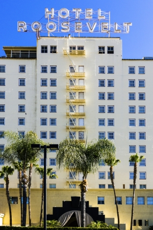 HOLLYWOOD, USA -JUNE 26: facade of famous historic Roosevelt Hotel on June 26,2012 in Hollywood, USA. It  first opened on May 15, 1927. It is now managed by Thompson Hotels. Stock Photo - 14443795