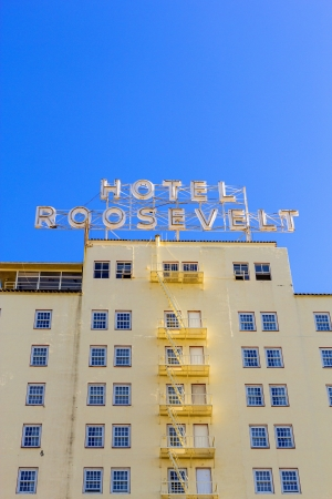 HOLLYWOOD, USA -JUNE 26: facade of famous historic Roosevelt Hotel on June 26,2012 in Hollywood, USA. It  first opened on May 15, 1927. It is now managed by Thompson Hotels. Stock Photo - 14443793