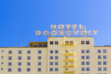 roosevelt hotel: HOLLYWOOD, USA -JUNE 26: facade of famous historic Roosevelt Hotel on June 26,2012 in Hollywood, USA. It  first opened on May 15, 1927. It is now managed by Thompson Hotels.
