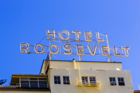 HOLLYWOOD, USA -JUNE 26: facade of famous historic Roosevelt Hotel on June 26,2012 in Hollywood, USA. It  first opened on May 15, 1927. It is now managed by Thompson Hotels. Stock Photo - 14443806