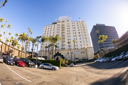 HOLLYWOOD, USA -JUNE 26: facade of famous historic Roosevelt Hotel on June 26,2012 in Hollywood, USA. It  first opened on May 15, 1927. It is now managed by Thompson Hotels. Stock Photo - 14443805