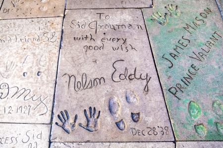 eddy: LOS ANGELES - JUNE 26: handprint of Eddy Nelson in Hollywood Boulevard on June 26,2012 in Los Angeles. There are nearly 200 celebrity handprints in the concrete of Chinese Theatres forecourt.