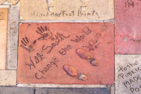 LOS ANGELES - JUNE 26:  handprints in Hollywood Boulevard on June 26,2012 in Los Angeles. There are nearly 200 celebrity handprints in the concrete of Chinese Theatre's forecourt.