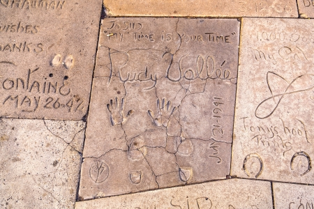 rudy: LOS ANGELES - JUNE 26:  handprints of Rudy Vallee in Hollywood on June 26,2012 in Los Angeles. There are nearly 200 celebrity handprints in the concrete of Chinese Theatres forecourt. Editorial