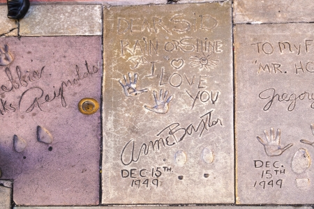 LOS ANGELES - JUNE 26:  handprints of Anne Baxter in Hollywood on June 26,2012 in Los Angeles. There are nearly 200 celebrity handprints in the concrete of Chinese Theatres forecourt.