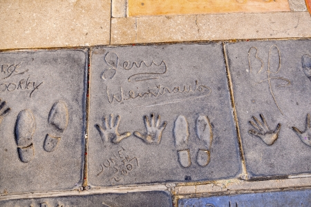 LOS ANGELES - JUNE 26:  handprints of Jenny Weintrauts in Hollywood on June 26,2012 in Los Angeles. There are nearly 200 celebrity handprints in the concrete of Chinese Theater.