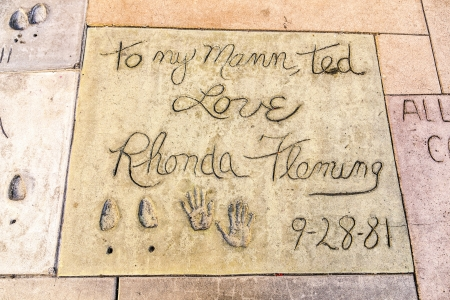 LOS ANGELES - JUNE 26:  handprints of Rhonda Fleming in Hollywood  on June 26,2012 in Los Angeles. There are nearly 200 celebrity handprints in the concrete of Chinese Theater.